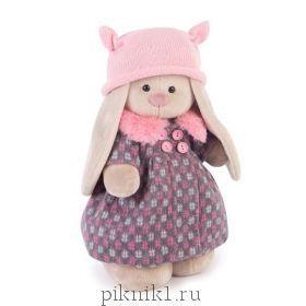 Зайка Ми в пальто и розовой шапке 25 см