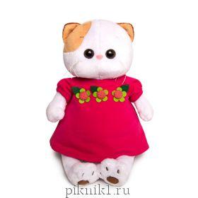 Кошечка Ли-Ли в малиновом платье с цветочками 27 см