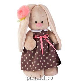 Зайка Ми в кофейном платье и цветком на ушке 32 см